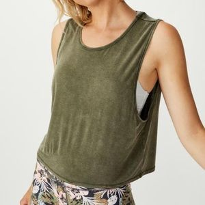 American Eagle Olive Cropped Muscle Tank Top